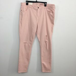 NWT Old navy Rock Star pink distressed jeans 18R